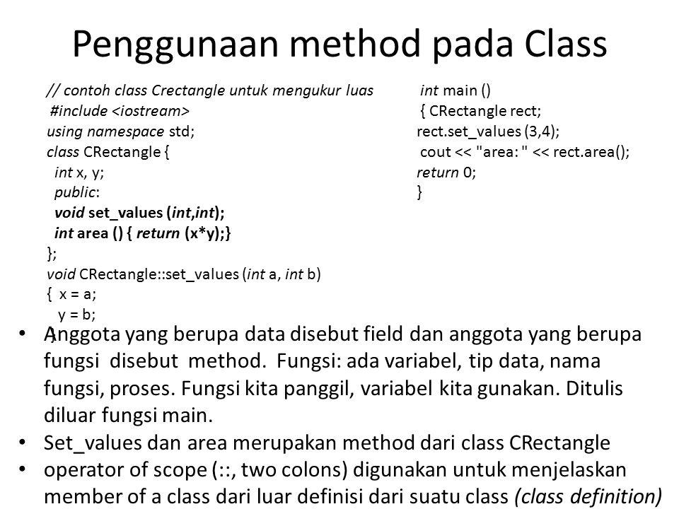 Penggunaan method pada Class