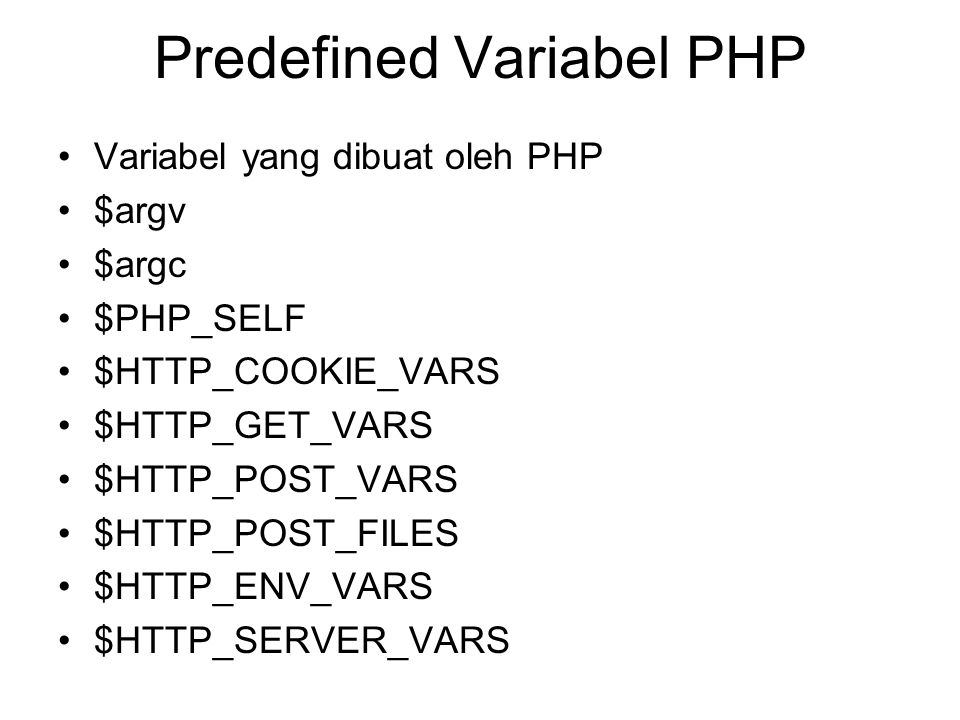 Predefined Variabel PHP