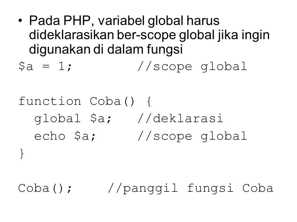 Pada PHP, variabel global harus dideklarasikan ber-scope global jika ingin digunakan di dalam fungsi