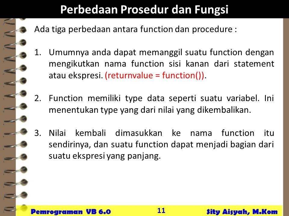 Perbedaan Prosedur dan Fungsi
