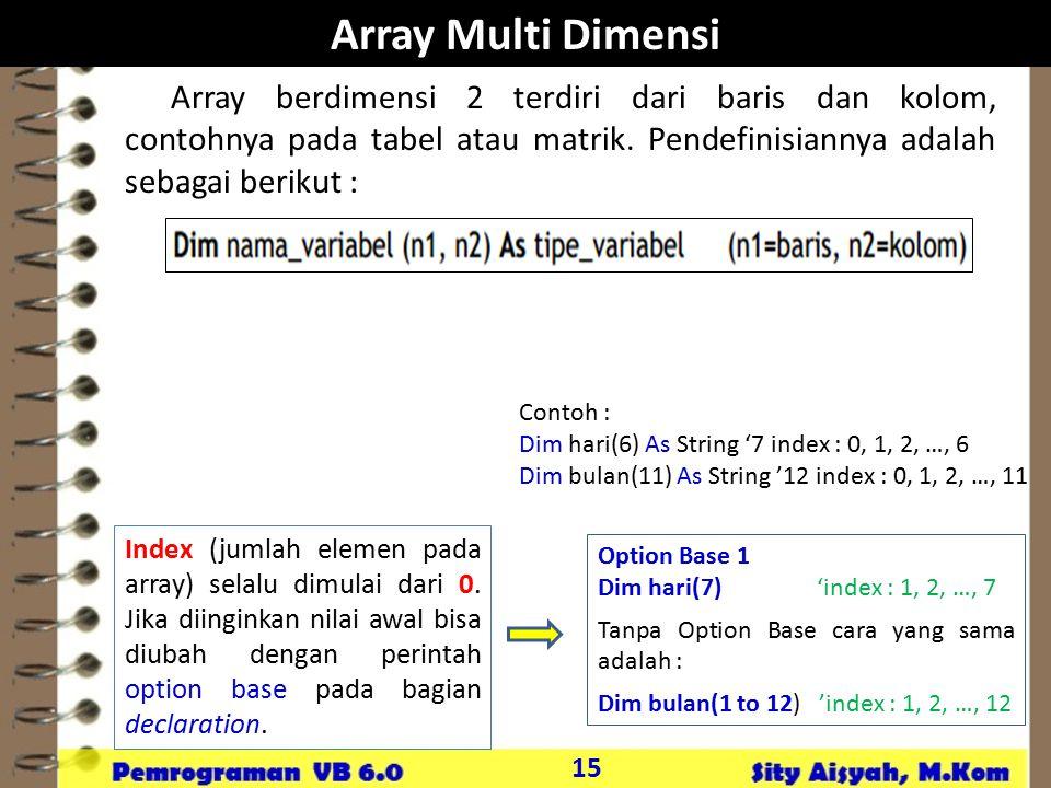 Array Multi Dimensi Array berdimensi 2 terdiri dari baris dan kolom, contohnya pada tabel atau matrik. Pendefinisiannya adalah sebagai berikut :