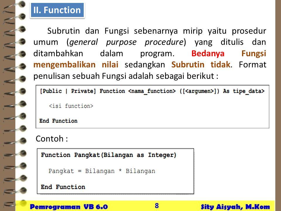 II. Function