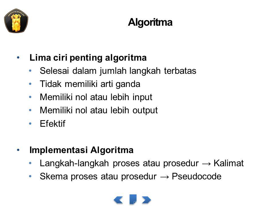 Algoritma Lima ciri penting algoritma