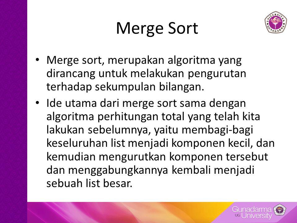 Merge Sort Merge sort, merupakan algoritma yang dirancang untuk melakukan pengurutan terhadap sekumpulan bilangan.