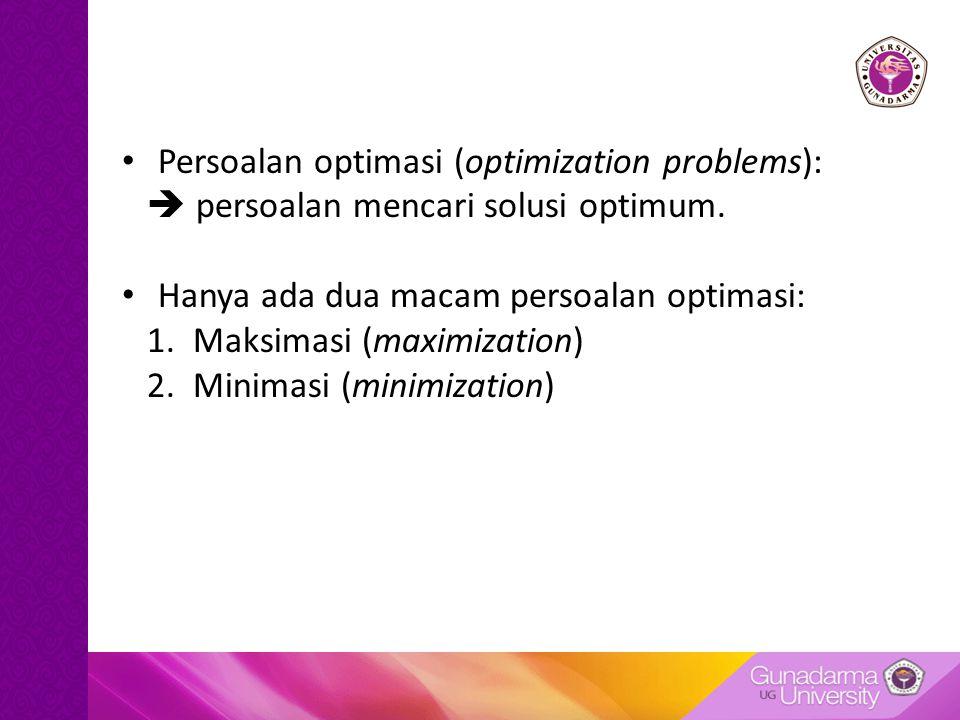 Persoalan optimasi (optimization problems):