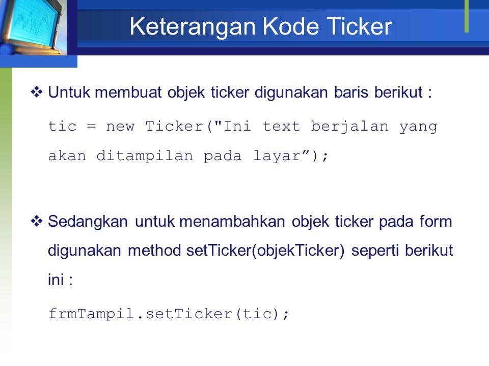 Keterangan Kode Ticker