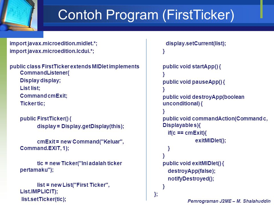Contoh Program (FirstTicker)
