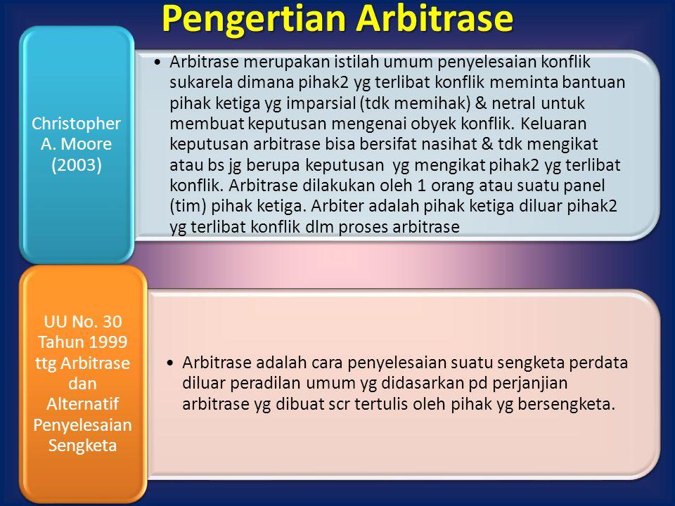 Pengertian Arbitrase Christopher A. Moore (2003)