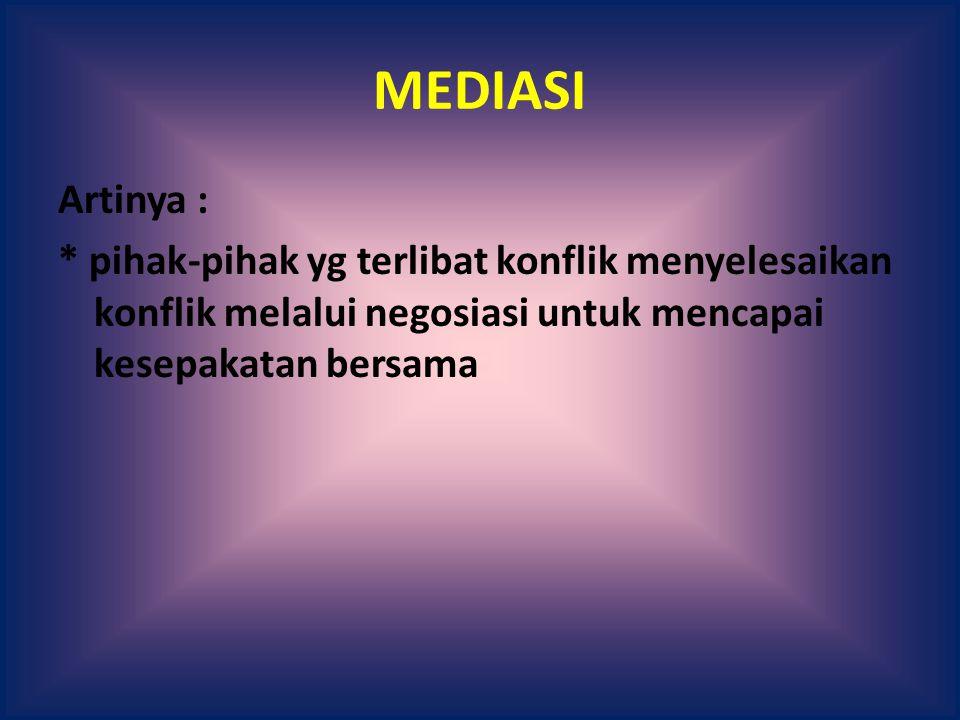 MEDIASI Artinya : * pihak-pihak yg terlibat konflik menyelesaikan konflik melalui negosiasi untuk mencapai kesepakatan bersama