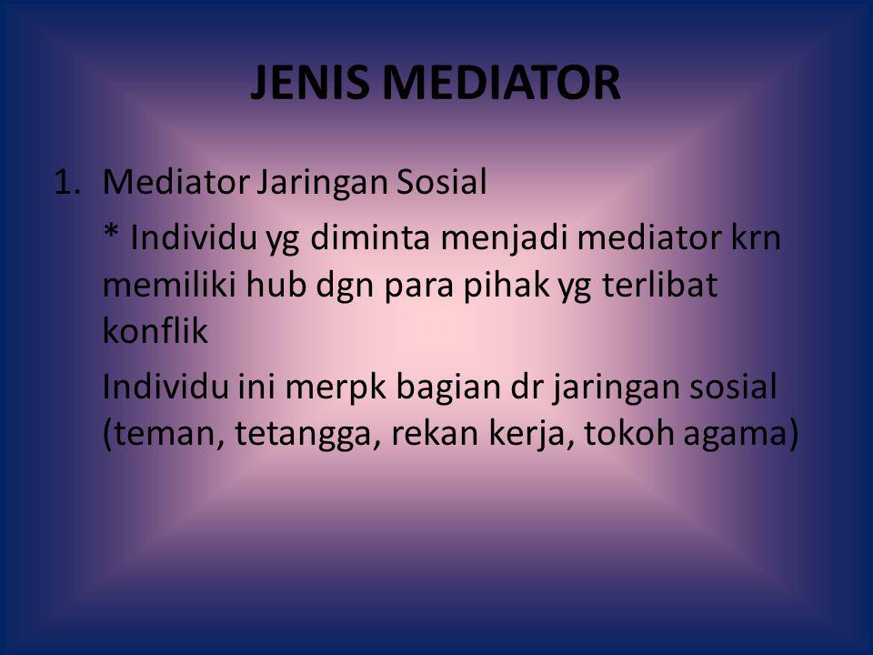 JENIS MEDIATOR Mediator Jaringan Sosial
