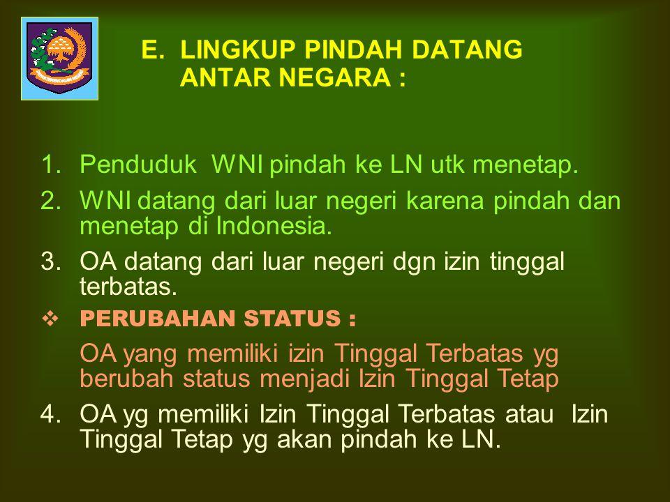 E. LINGKUP PINDAH DATANG ANTAR NEGARA :