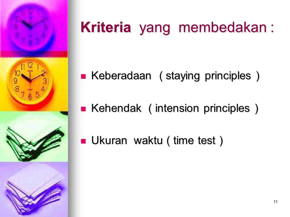 Kriteria yang membedakan :