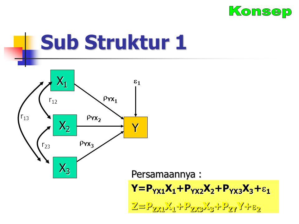 Sub Struktur 1 Konsep X1 X2 Y X3 Persamaannya :