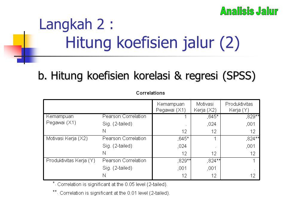Langkah 2 : Hitung koefisien jalur (2)