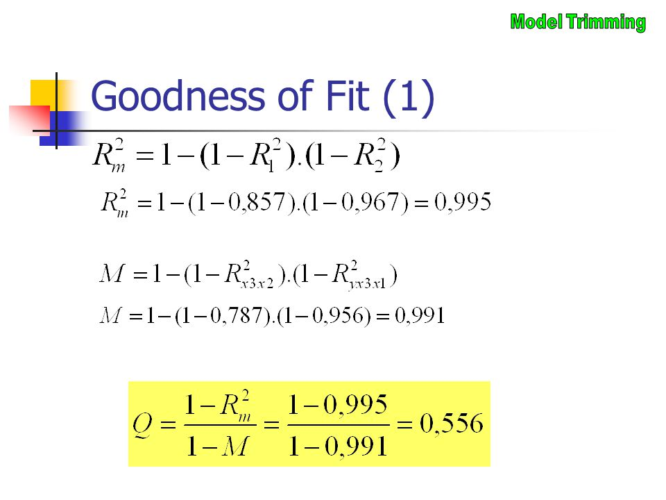 Goodness of Fit (1) Model Trimming