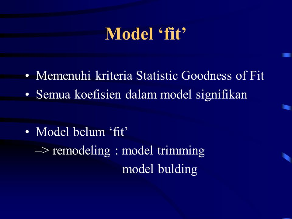 Model 'fit' Memenuhi kriteria Statistic Goodness of Fit