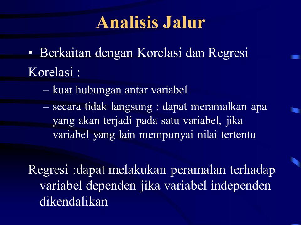 Analisis Jalur Berkaitan dengan Korelasi dan Regresi Korelasi :