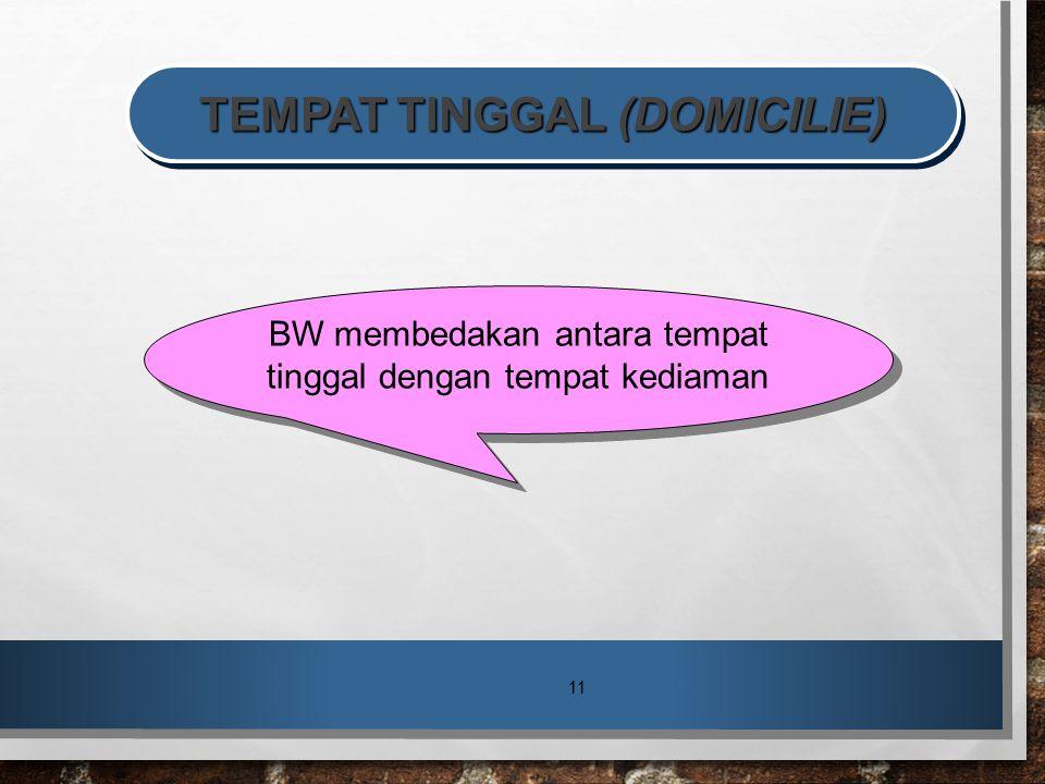 TEMPAT TINGGAL (DOMICILIE)
