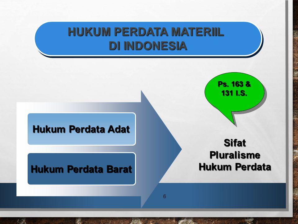 HUKUM PERDATA MATERIIL DI INDONESIA Sifat Pluralisme Hukum Perdata