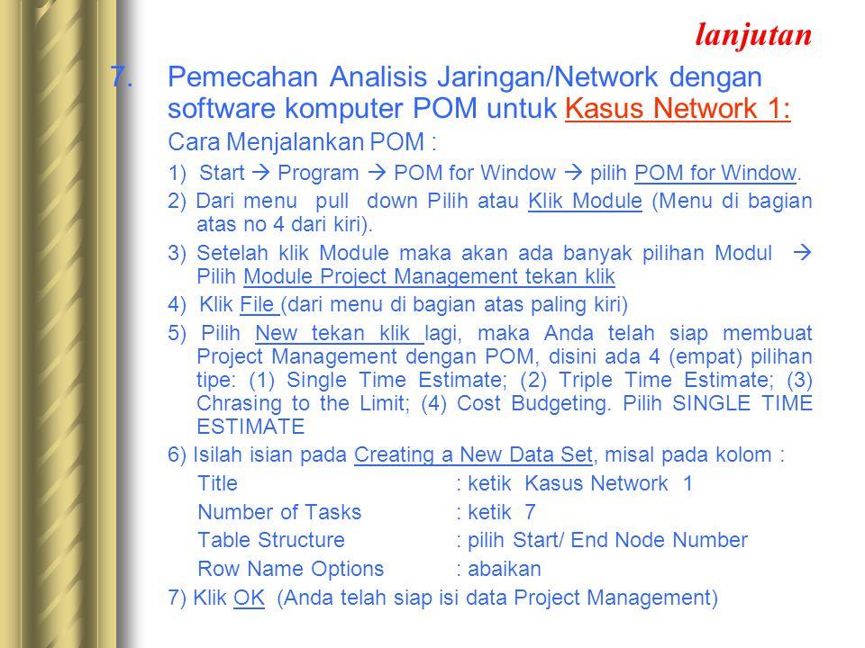 lanjutan 7. Pemecahan Analisis Jaringan/Network dengan software komputer POM untuk Kasus Network 1: