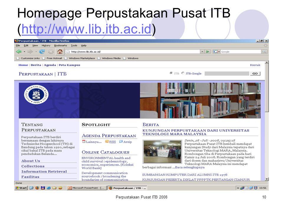 Homepage Perpustakaan Pusat ITB (http://www.lib.itb.ac.id)