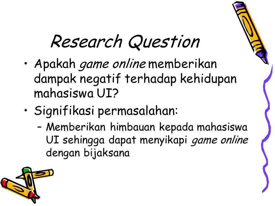 Research Question Apakah game online memberikan dampak negatif terhadap kehidupan mahasiswa UI Signifikasi permasalahan: