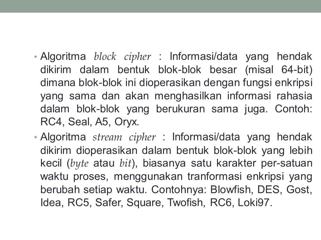 Algoritma block cipher : Informasi/data yang hendak dikirim dalam bentuk blok-blok besar (misal 64-bit) dimana blok-blok ini dioperasikan dengan fungsi enkripsi yang sama dan akan menghasilkan informasi rahasia dalam blok-blok yang berukuran sama juga. Contoh: RC4, Seal, A5, Oryx.
