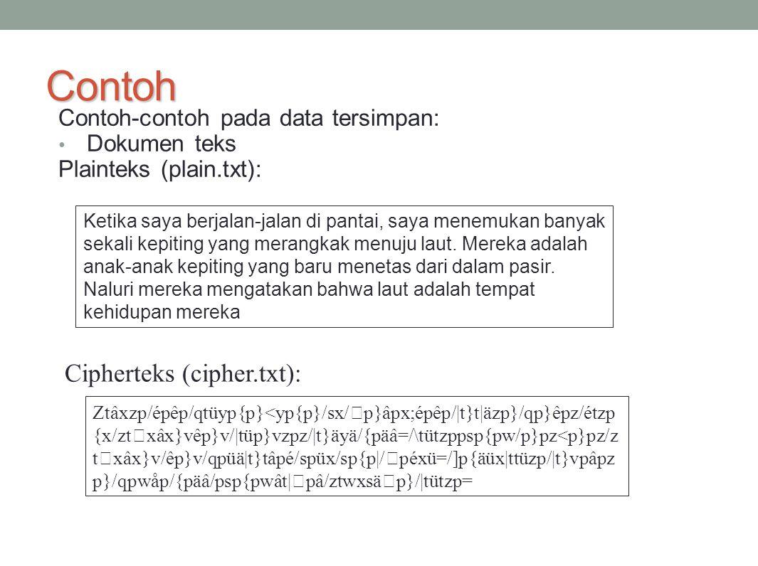 Contoh Cipherteks (cipher.txt): Contoh-contoh pada data tersimpan: