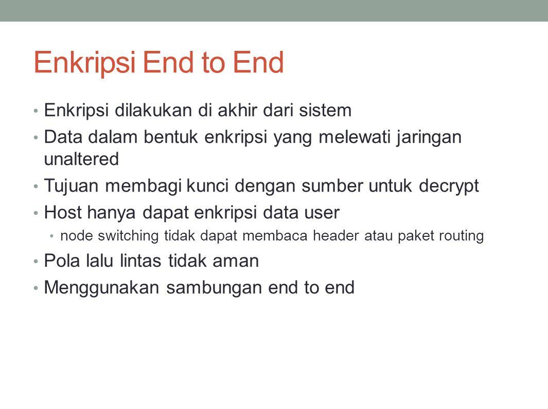 Enkripsi End to End Enkripsi dilakukan di akhir dari sistem