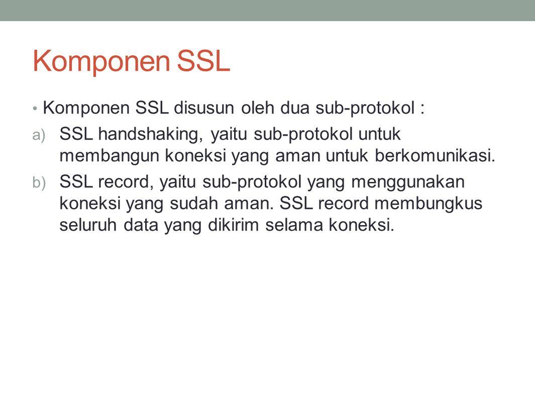 Komponen SSL Komponen SSL disusun oleh dua sub-protokol :