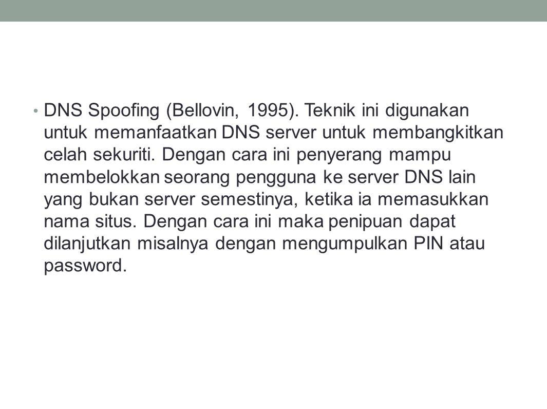 DNS Spoofing (Bellovin, 1995)