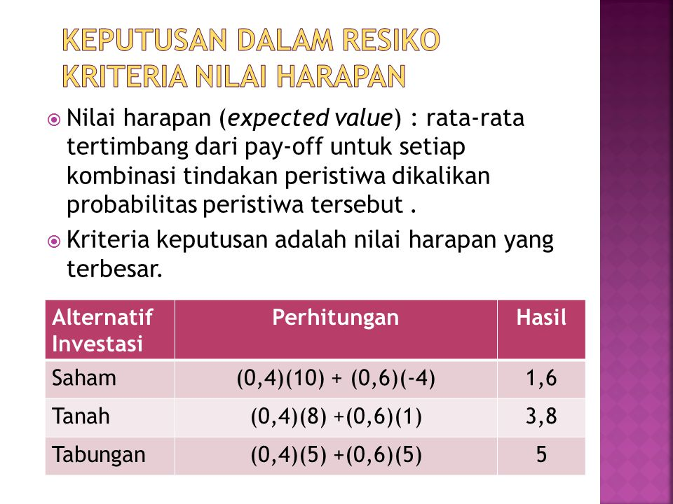 Keputusan dalam resiko kriteria nilai harapan