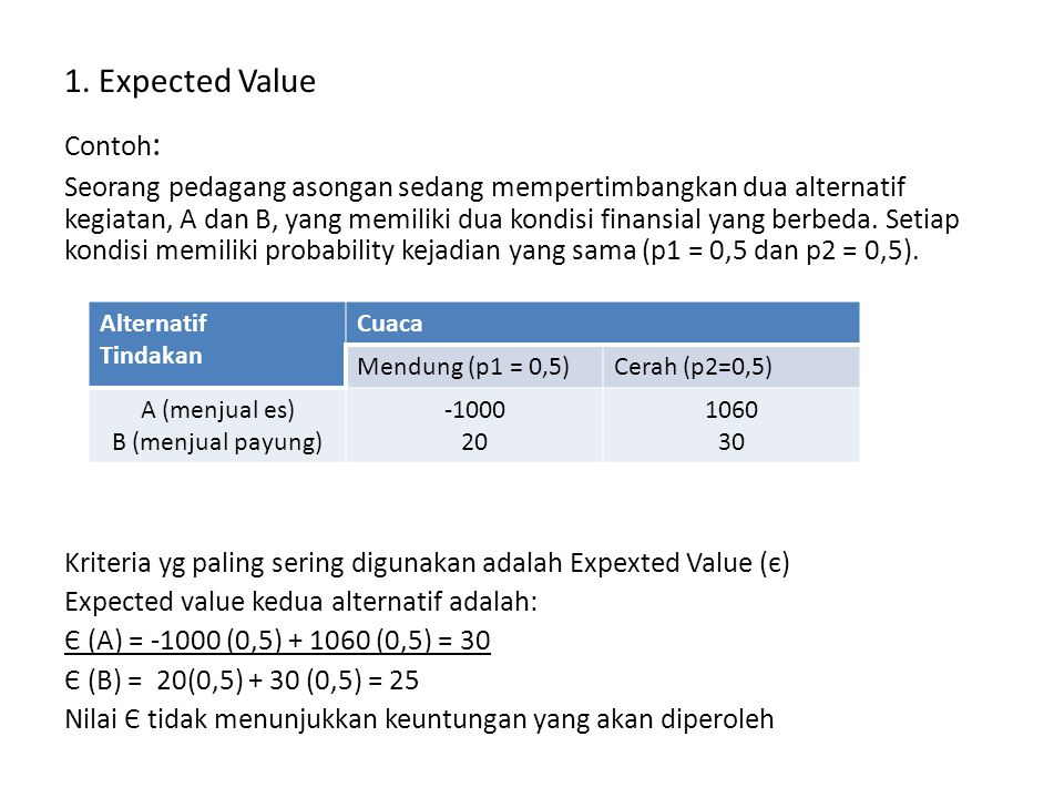 1. Expected Value
