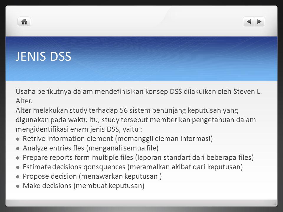 JENIS DSS Usaha berikutnya dalam mendefinisikan konsep DSS dilakuikan oleh Steven L. Alter.