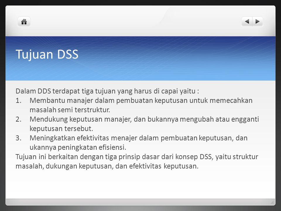 Tujuan DSS Dalam DDS terdapat tiga tujuan yang harus di capai yaitu :