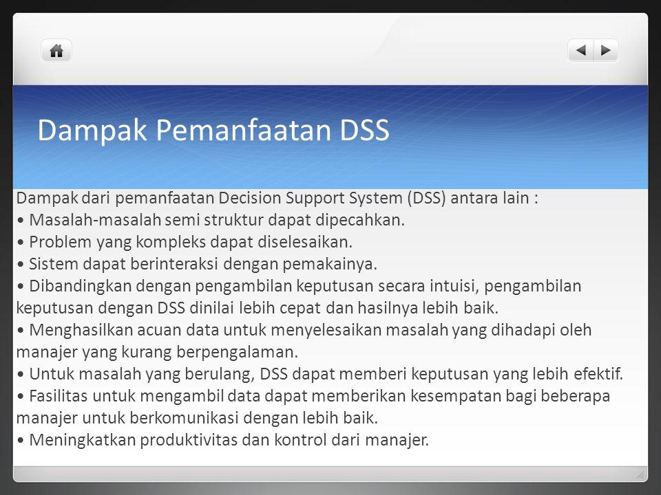 Dampak Pemanfaatan DSS