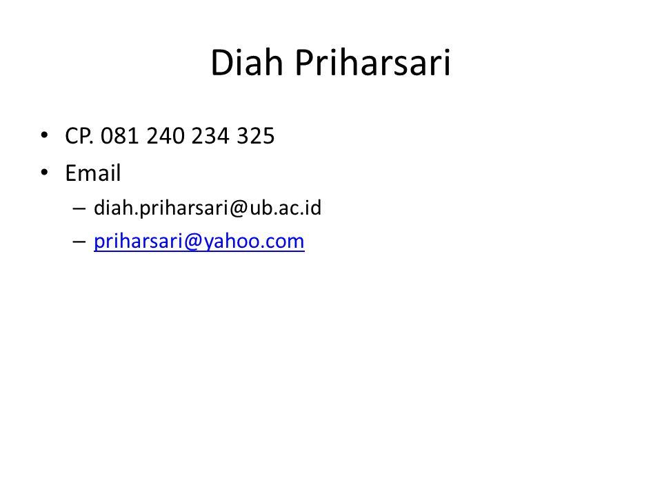 Diah Priharsari CP. 081 240 234 325 Email diah.priharsari@ub.ac.id
