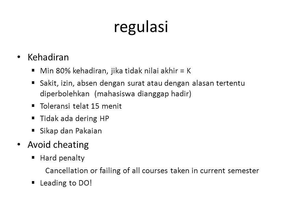 regulasi Kehadiran Avoid cheating