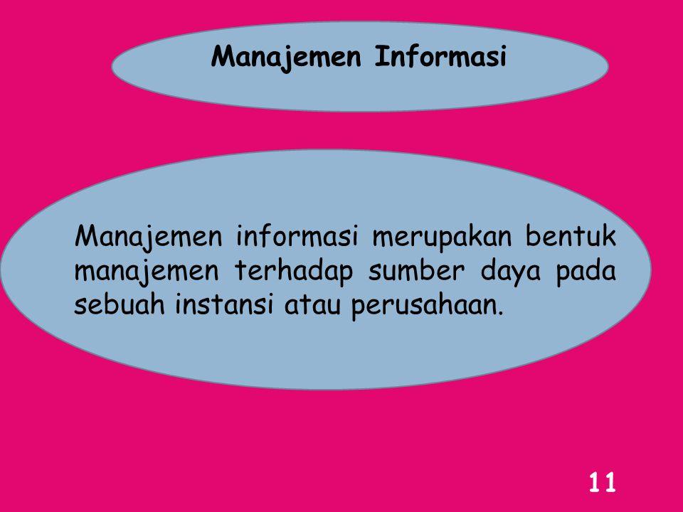 Manajemen Informasi Manajemen informasi merupakan bentuk manajemen terhadap sumber daya pada sebuah instansi atau perusahaan.