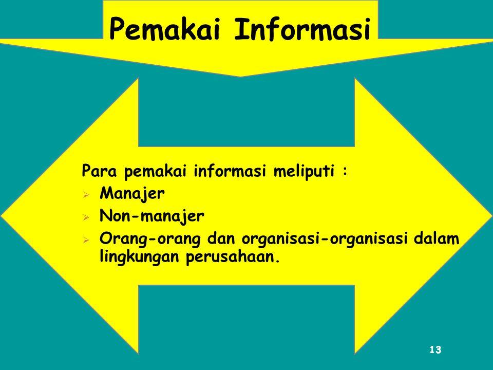 Pemakai Informasi Para pemakai informasi meliputi : Manajer