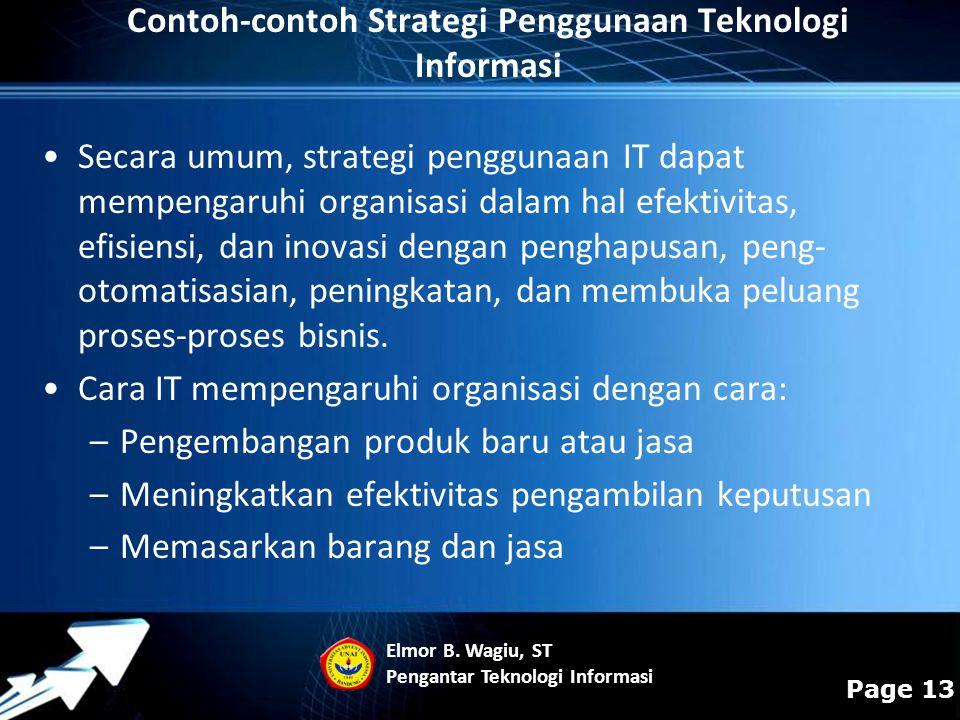 Contoh-contoh Strategi Penggunaan Teknologi Informasi