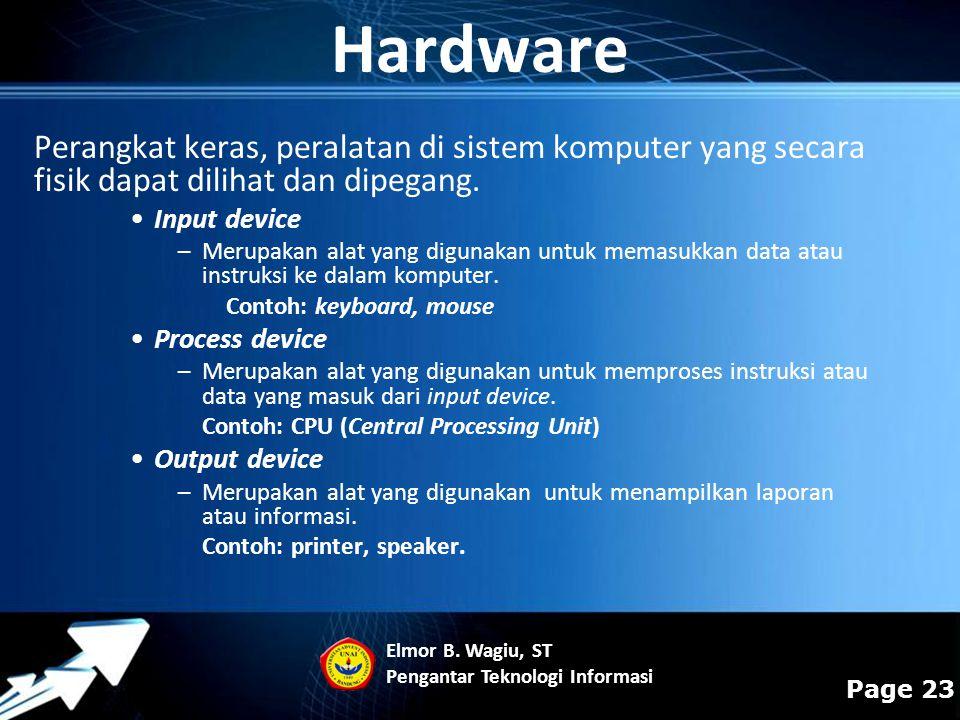 Hardware Perangkat keras, peralatan di sistem komputer yang secara fisik dapat dilihat dan dipegang.