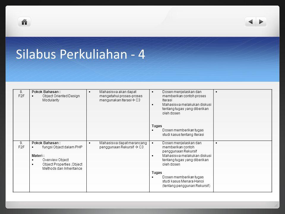 Silabus Perkuliahan - 4 8. F2F Pokok Bahasan :
