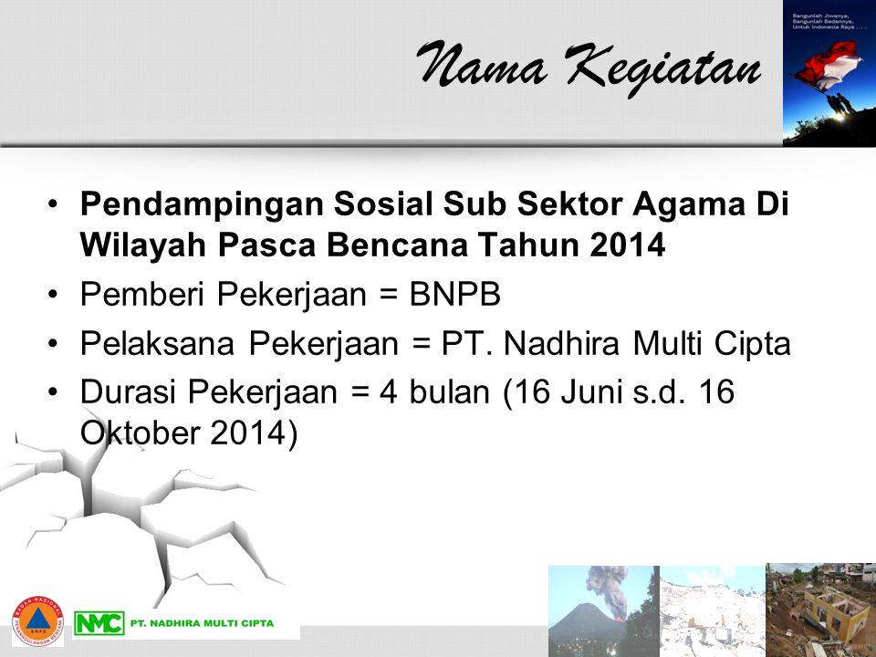 Nama Kegiatan Pendampingan Sosial Sub Sektor Agama Di Wilayah Pasca Bencana Tahun 2014. Pemberi Pekerjaan = BNPB.