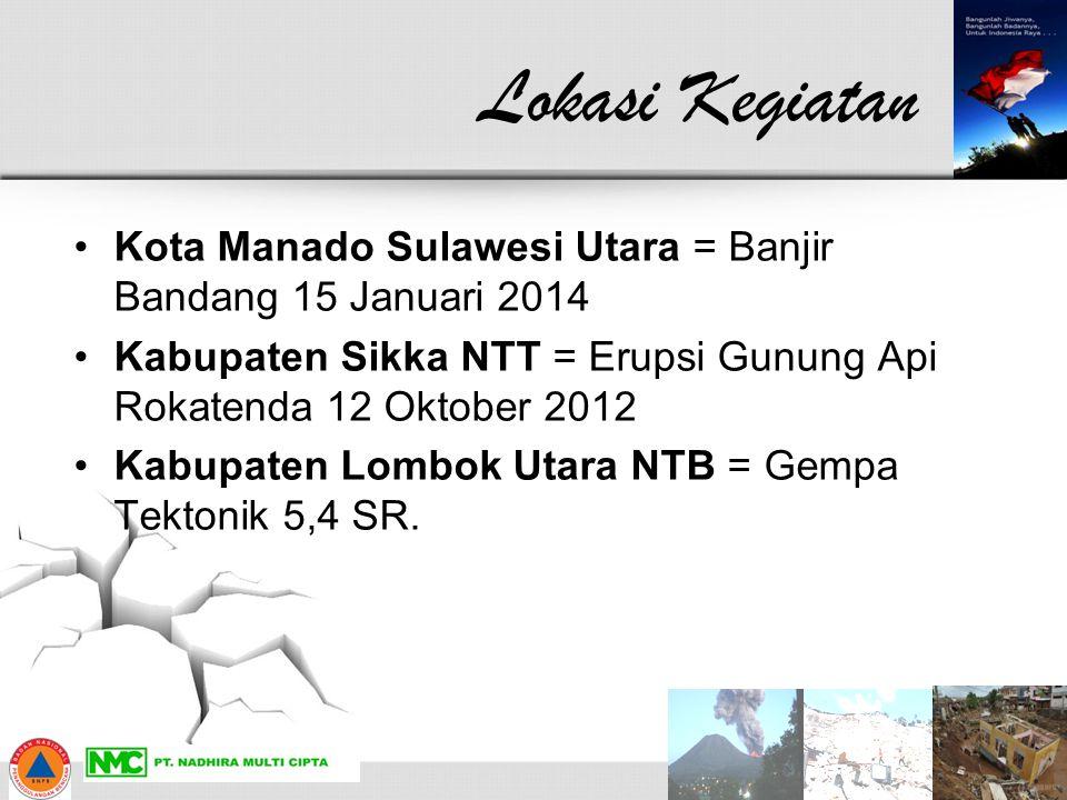 Lokasi Kegiatan Kota Manado Sulawesi Utara = Banjir Bandang 15 Januari 2014. Kabupaten Sikka NTT = Erupsi Gunung Api Rokatenda 12 Oktober 2012.