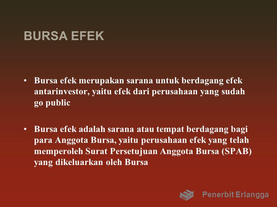 BURSA EFEK Bursa efek merupakan sarana untuk berdagang efek antarinvestor, yaitu efek dari perusahaan yang sudah go public.