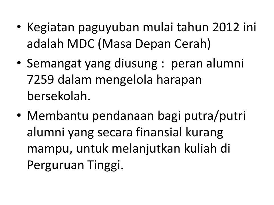 Kegiatan paguyuban mulai tahun 2012 ini adalah MDC (Masa Depan Cerah)