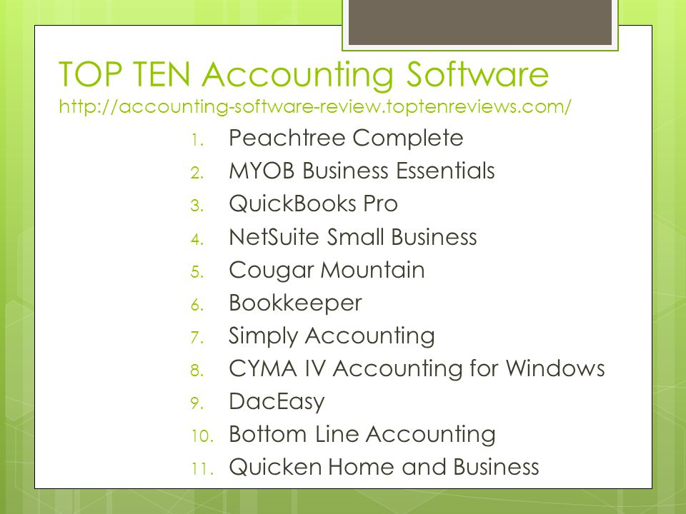 TOP TEN Accounting Software http://accounting-software-review