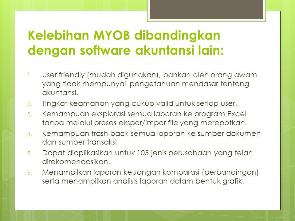 Kelebihan MYOB dibandingkan dengan software akuntansi lain: