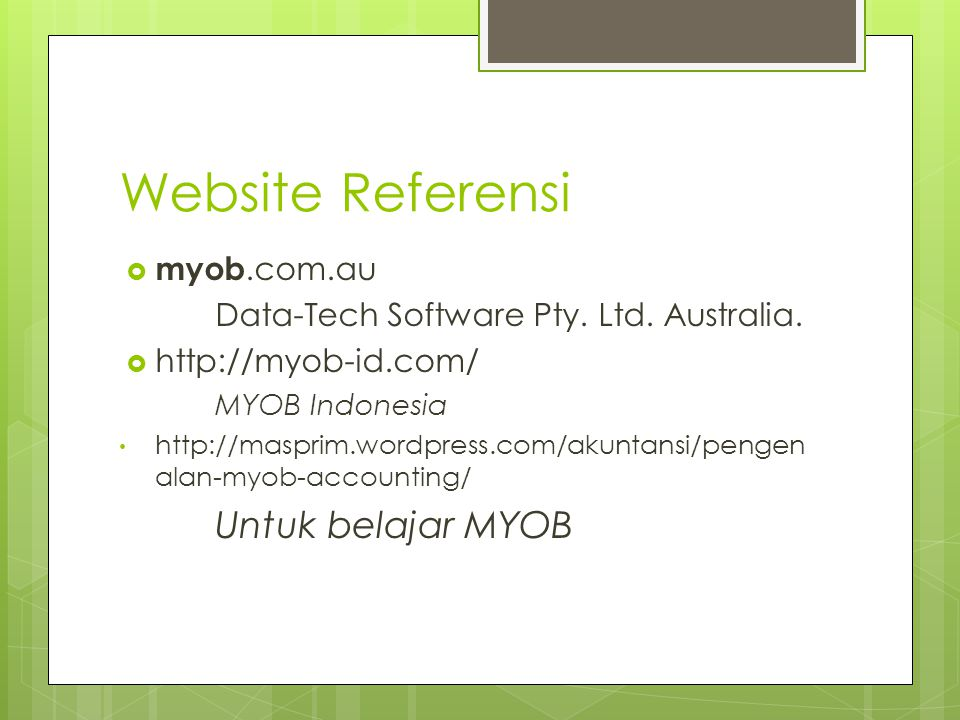 Website Referensi Untuk belajar MYOB myob.com.au